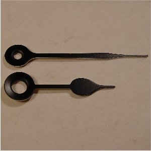 QUARTZ CLOCK HANDS FOR MINI MOVEMENT, Spade, Black, 29mm/22mm.
